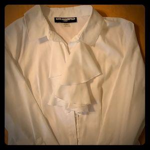 Karl Lagerfeld white button down ruffle shirt